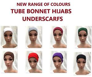 Women Ladies Under Scarf Hijab TUBE BACK Bone  BONNET Cap 18 Colours Stretchable