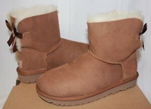 f0fe125da52 Details about UGG Women's Mini Bailey Bow II 2 Chestnut Suede New With Box!