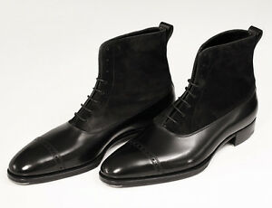 Handmade Men Oxford Dress Boot Men Black Suede and Leather ankle Boots Mens  boot | eBay