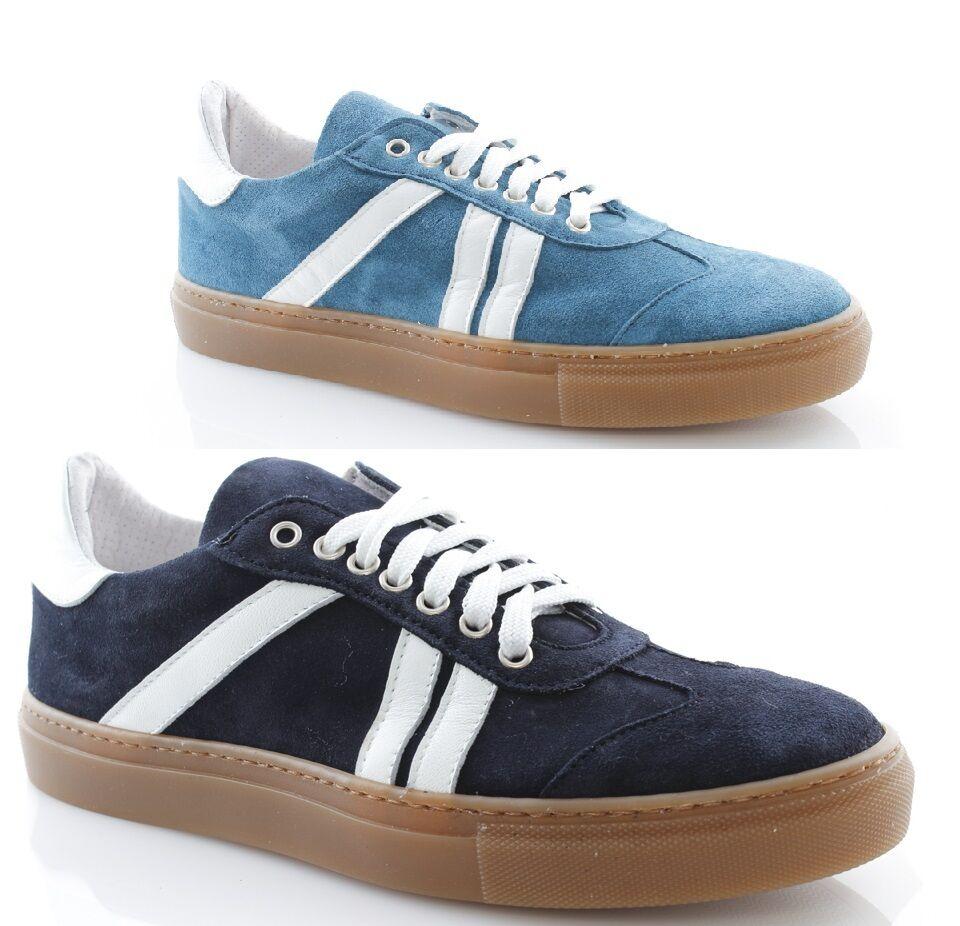 Baskets uomo basse estive camoscio pelle blu blu blu bianche scarpe stringate italane 454dc2
