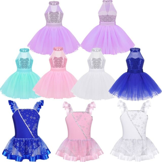 3f0e97aa10552 Kids Girls Sequin Ballet Dance Leotard Dress Gymnastics Tutu Skirt Party  Costume