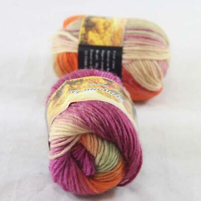 C Sale 2ballsx50g colorful Soft Chunky Hand Knitting Rainbow Wool Shawls Yarn 27