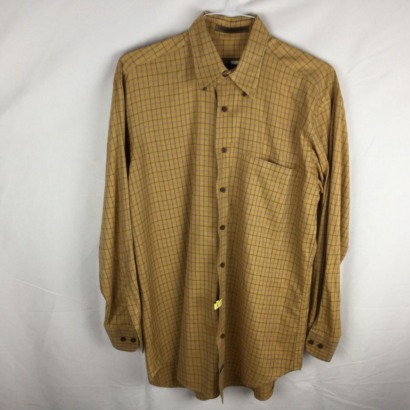 Robert Talbots Carmel CA Men's LS Medium Brown Windowpane Button Down Shirt