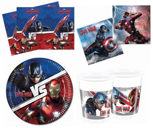 Marvel Capitán América Guerra Civil Fiesta de Cumpleaños GAMA Vajilla /& Decoraciones