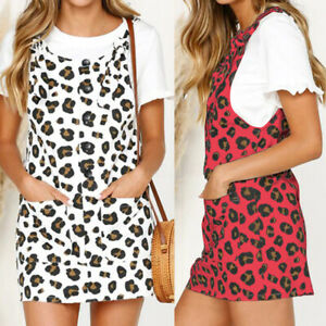 Summer-Women-Leopard-Mini-Dress-Sleeveless-Pinafore-Dungaree-Party-Sundress-Plus