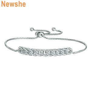 Newshe-Adjustable-Chain-Bracelet-For-Women-925-Sterling-Silver-Round-White-Cz
