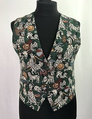 Paul Harris Design Vintage Verde Gilet Fire Fighter Dalmation Print Uk Piccolo-mostra Il Titolo Originale