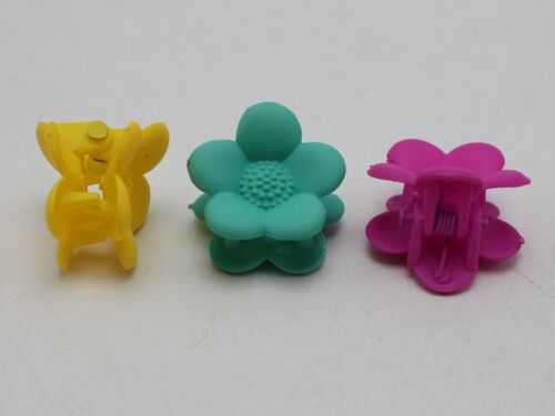 20 Mixed Color Rubber Tone Plastic Cute Flower Hair Claw Clips Clamp 20mm