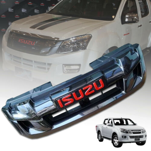 CHROME FRONT GRILLE GRILL RED LOGO FIT FOR ISUZU DMAX DMAX 2012 2013 14