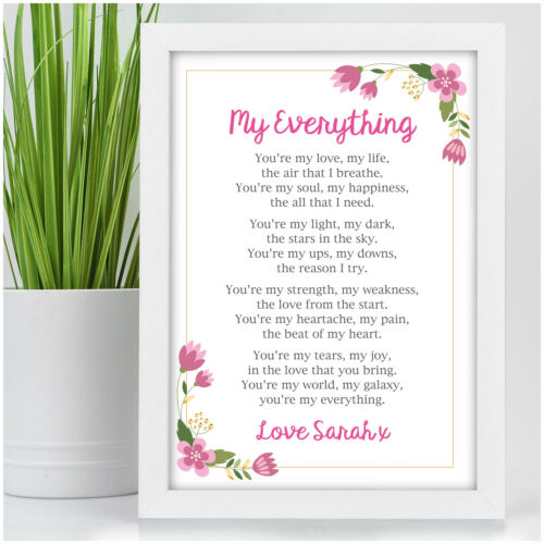 Personalised Anniversary Poem Gift for Her Girlfriend Wife Couples Husband Him