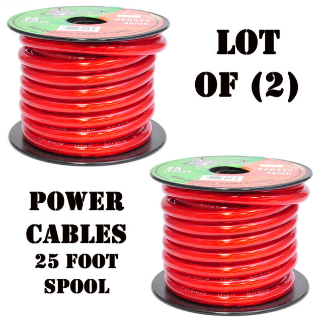 8 Gauge Clear Red Power Wire 100 ft OFC