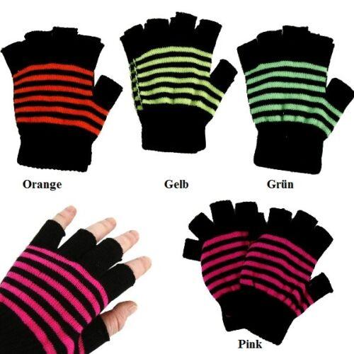 Mütze Fingerlinge Handschuhe Neon Trend Gelb Grün Orange Pink Bommel Zöpfe Inka