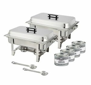 winco set of 2 full size chafer stainless steel chafing dish set ebay. Black Bedroom Furniture Sets. Home Design Ideas