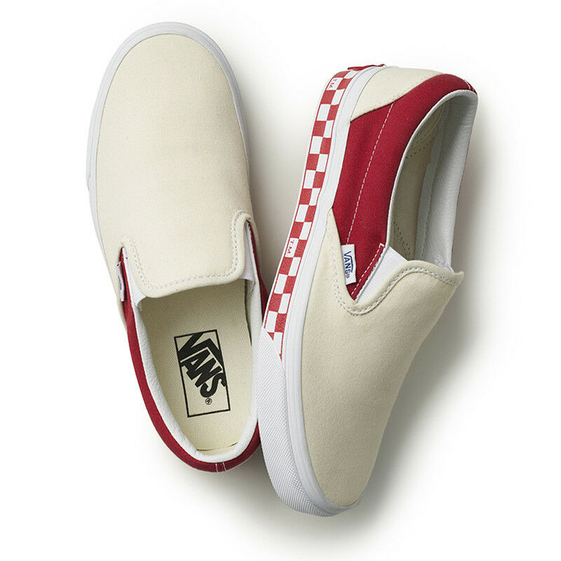 New VANS Uomo SIDEWALL CHECK SLIP ON WHITE / RED VN0A38F7OWM US M 7 - 10 TAKSE