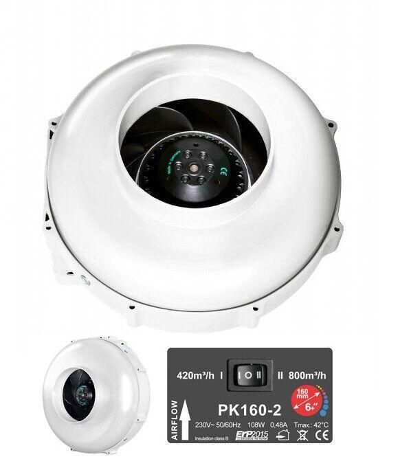Prima Klima II Speed Radial Ventilator 160mm 420-800m3 h Klima Grow Belüftung