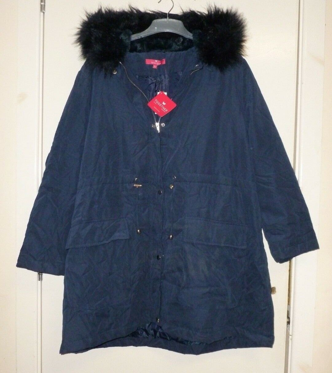 Together Parka bluee with fur edged hood SIZE 30 UK BRAND NEW CR181 HH 08
