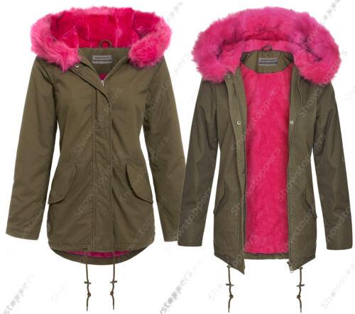 NEW Womens Oversized Hood Pink Fur Parka Coat Ladies Khaki Jacket Size 8 to 16