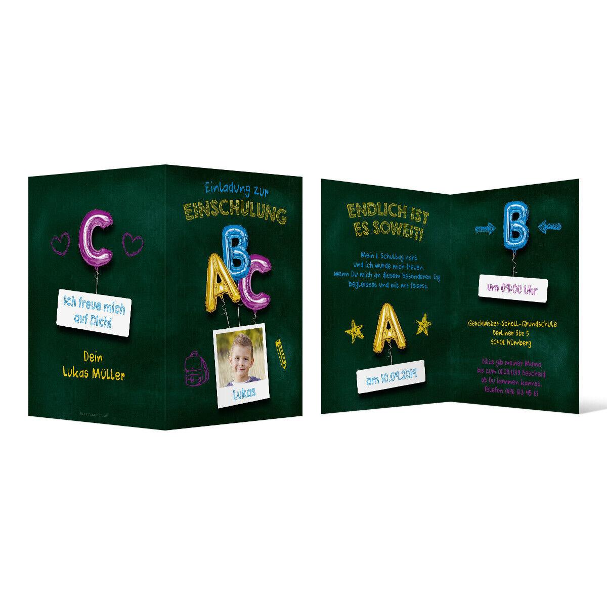 Einschulung Einladungskarten individuell Einschulungskarte Karten Tafel ABC Blau