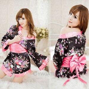 Femmes-Sexy-Lingerie-Kimono-Robe-Nuit-Pyjama-Sous-vetement-Dentelle-Floral-Set2x