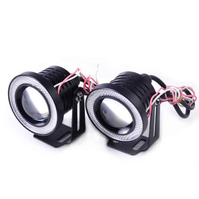 "2pcs 2.5"" 10W White LED Projector Fog Driving Light w/ Blue Angel Eye Halo Ring"