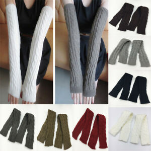 Women Knitted Long Fingerless Gloves Elbow Arm Warmer Half Finger Winter Mittens