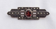 VINTAGE STERLING SILVER 925 MARCASITE BAR BROOCH WITH RED STONE