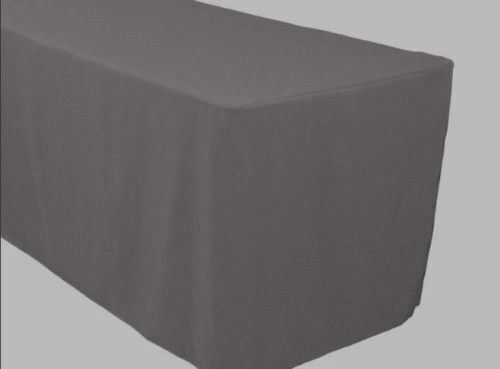 8u0027 Ft. Fitted Polyester Table Cover Trade Show Banquet Tablecloth CHARCOAL  GREY