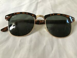 Ray-Ban-Clubmaster-Tortoise-Frame-RB3016-Sunglasses-51mm-Need-Repair