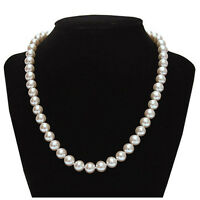 14k Solid White Gold 8.0-9 Mm Nature Freshwater Pearl Necklace June Birthstone