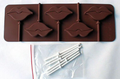 Lips 5 cavity Lollipop Silicone Mold for chocolate gum paste fondant crafts