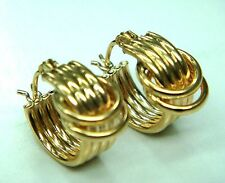 14 K Solid Yellow Gold  Women's  Hoop Earring Jewelry