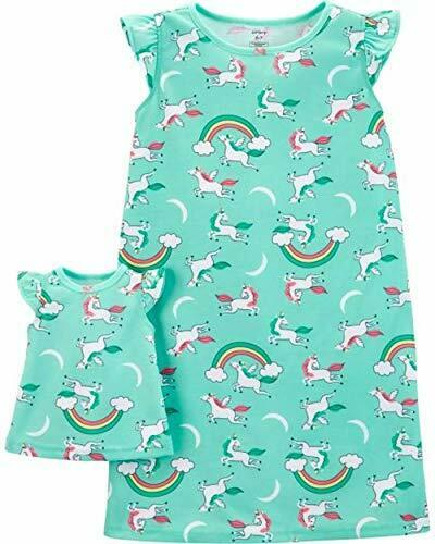 Toddler Girl/'s Mint Green Unicorn Nightgown with Doll Gown