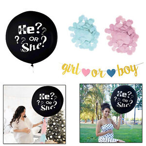 Gender-Reveal-noir-ballon-fille-bebe-rose-ou-garcon-bleu-Confettis-Banniere-Set-30-cm