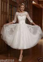 New White/Ivory Short Lace Wedding Dress Bridal Gowns Size UK 6-8-10-12-14-16-18