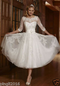 86a8e761ac97c New White Ivory Short Lace Wedding Dress Bridal Gowns Size UK 6-8 ...