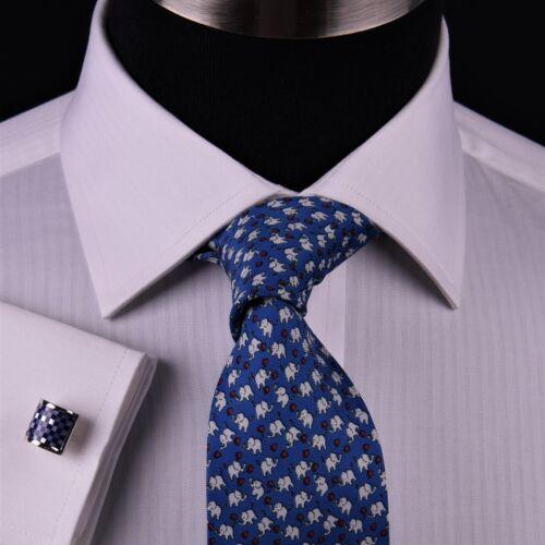 Men/'s White Twill Stripe Every Dress Shirt Formal Business Boss French Cuff Boss