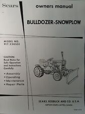 Sears Custom Xl Compact Garden Tractor Dirt Snow Plow Blade Owner Amp Parts Manual