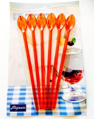 Lot de 6 dessert spoon-Longue Poignée en Plastique//Sundae//soda cuillères-Rouge