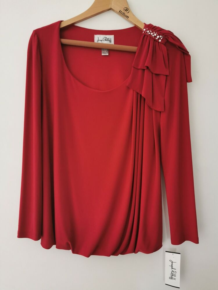 Bnwt Joseph Ribkoff Rouge à Manches Longues Strass Femme Taille Uk 12 * Neuf * Rrp £ 190.00