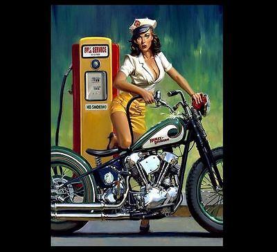 Harley-Davidson Motorcycle Girl Poster Art Print