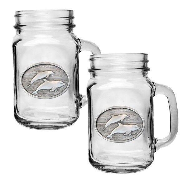 Heritage Pewter Dolphin Mason Jar Mug Set de 2   hpimjm 135