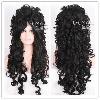 USA Ship Modern Marie Antoinette Victorian long black halloween cosplay hair wig