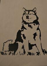 20CM ALASKAN MALAMUTE SILHOUETTE STICKER DECAL SLED DOG DOGS BLACK