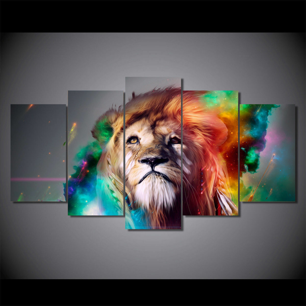 Lion Farbeful abstract print poster canvas decoration 5 pieces
