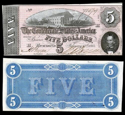 1864 $5.00 CONFEDRATE STATE OF AMERICA BANKNOTE COPY UNC PLEASE READ DESCR