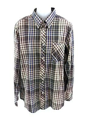 Ben Sherman Mens Shirt L Large Brown Green Blue Beige Check Cotton & Polyester