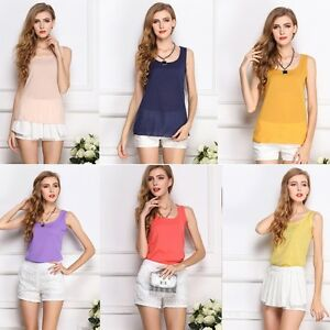 Women-Summer-Loose-Casual-Dentelle-Mousseline-Sans-Manches-Gilet-Tank-T-shirt-Tops-chemisier