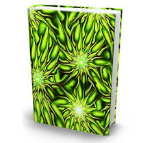 Green Fractal Ultra Print Lime Slime Stretch Fabric Book Sox Cover Jumbo Size