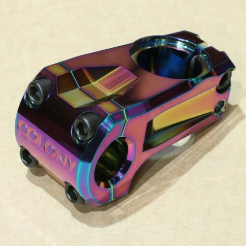 COLONY BMX OFFICIAL BICYCLE STEM OIL SLICK BLACK RED POLISHED PURPLE ODYSSEY