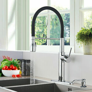 Kitchen Sink Faucet Pull Out Sprayer Swivel Mixer Tap With 10 inch Cover Plate